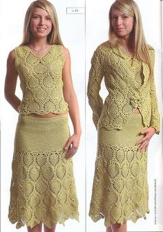 Pineapple crochet suit set - no pattern, some diagrams, not english