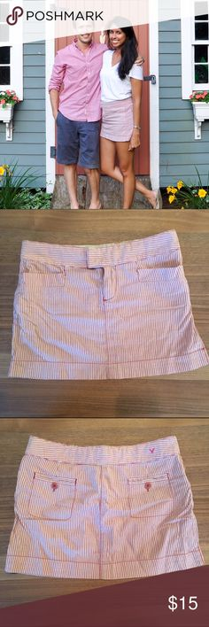 Red and white stripped mini skirt Red and white stripped American eagle mini skirt American Eagle Outfitters Skirts Mini