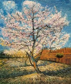 Pink Peach Tree in Blossom, Unframed Loose Canvas