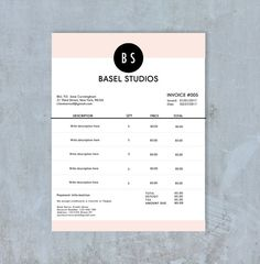 Invoice Template | Billing Template | Photography Invoice | Receipt Template | PSD File
