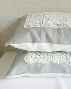 Pillows and doilies. #pillow #doilies #lace #gray #white #sewing #crafts