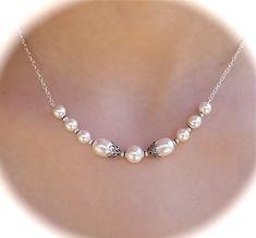 Vintage Style Necklace, Bridal Necklace, Sterling Silver, Swarovski Crystal, Swarovski Pearls, Bridesmaids, Wedding Jewelry. $45.00, via Etsy.