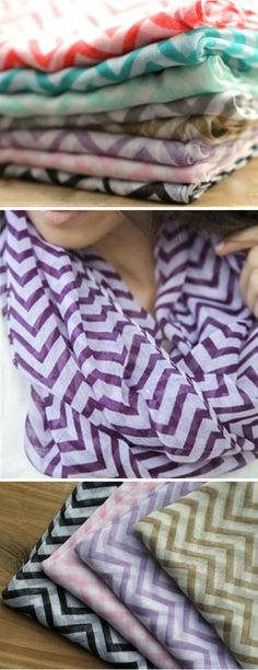 Chiffon Chevron Infinity Scarves- I could easily make this at home with loose cloth!