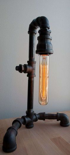44 Fascinating Diy Industrial Pipe Lamps Ideas 44 Fascinating Diy Industrial Pipe Lamps Ideas Adding A Table Lamp To Any Room In Your Home Can Add A Wonderful Spot Of Accent To Brighten It Cool 44 Fascinating Diy Industrial Pipe Lamps Ideas Lampe Industrial, Lampe Metal, Industrial Lighting, Industrial Style, Vintage Industrial, Industrial Industry, Pipe Lighting, Lighting Design, Old Fashioned Light Bulbs
