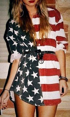 Chemisier America flag fashion
