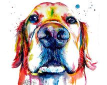 Colorful Golden Retriever Art Print - Print of my Original Watercolor Painting