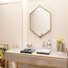Ufuns Modern Wall Mirror 50cm x 50cm Hexagon Bathroom Frame Mirrors,Wall-Mounted Dresser Home Decor,Gold Modern Wall, Wall Mount, Dresser, Mirror, Bathroom, Decoration, Frame, Furniture, Home Decor
