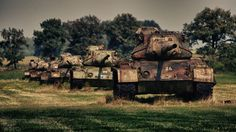 Rusty M47 Patton on the ground in Germany.Remarkably,some cars to the guns welded pipe
