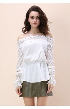 Give you a Stunning Crochet Off-shoulder Top in White - Retro, Indie and Unique Fashion