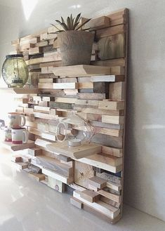 Use these woodworking projects to build and sell, to create easy woodworking projects to sell pallet wood projects online or at flea markets.This Pin was discovered by AZZstuff to make with woodFor hall shelf or bedroom wall Wooden Wall Art, Wooden Walls, Wall Wood, Wooden Shelves, Diy Pallet Projects, Wood Projects, Woodworking Projects, Woodworking Plans, Diy Furniture
