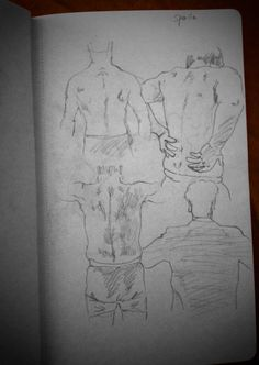 #drawing#Men's backs