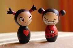 Pucca and Garu Inspired Kokeshi dolls by ZanetaGc.deviantart.com on @DeviantArt