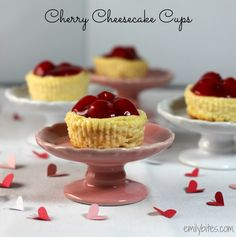 Cherry Cheesecake Cups - sweet, creamy cheesecake with a gooey cherry topping, individually packaged into individually-portioned cups. Secretly light at only 113 calories or 5 Weight Watchers SmartPoints each and they take less than 10 minutes of prep! www.emilybites.com