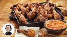 Pilons de poulet au cinq-épices et aux tomates Christian Bégin, Chicken Wings, Bbq, Lactose, Meat, Food, Tomatoes, Cooking Food, Chicken Drumsticks