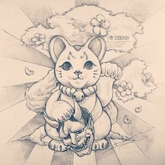 This would look cool as a tattoo for a big Maneki Neko fan!