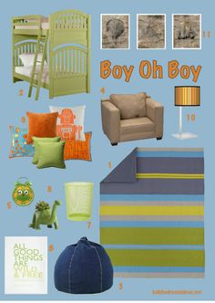 Bunk beds are a great way to start with a shared bedroom. This room has a couple of ways to include the interests of two different boys while working it all together in one scheme. Click through to see where it all came from.