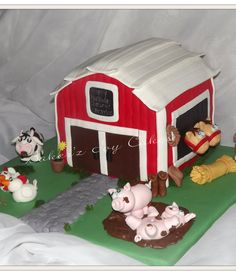 Red velvet with vanilla bean cream cheese farm and barn. All handmade characters. Farm Animal Cakes, Farm Animal Party, Farm Party, Farm Animals, Barnyard Cake, Barn Cake, Sculpted Cakes, Party Invitations Kids, Cowboy And Cowgirl