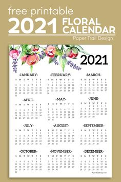 Use this free printable 2021 year at a glance floral one page wall calendar to stay organized in the new year. Printable Yearly Calendar, Free Printable Calendar Templates, Print Calendar, Calendar Pages, Planner Pages, Printable Planner, Free Planner, Free Printables, 2021 Calendar