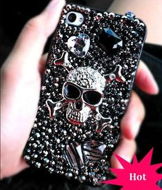 "// ""Punk Rock  DIY Phone Case"". - Yeeah. Cause Sid & Nancy had matching, bejeweled phone cases. Edgy."