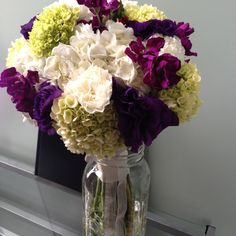 Bridal bouquet with Green and Purple Accents