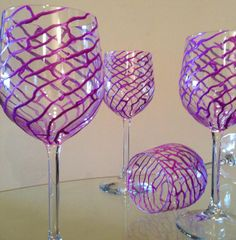 In Stock.  Hand painted wine glasses. Purple by SpitsnogleDesigns, $65.00 for 2