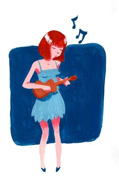 ukulele girl, an art print by Franck Giusti Ukulele Art, Ukulele Songs, Arte Horror, Aesthetic Art, Illustrations Posters, Fashion Art, Disney Characters, Fictional Characters, Art Prints