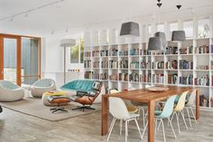 Open plan living space and dining area of Heliotrope's Artist in Residence house in Seattle.