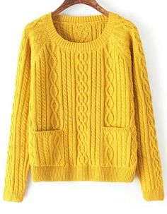 Cable Knit Pockets Yellow Sweater 23.00