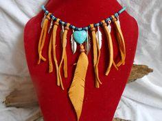 OOAK Handmade Leather Fringe Turquoise and by FaeMoonWolfDesigns