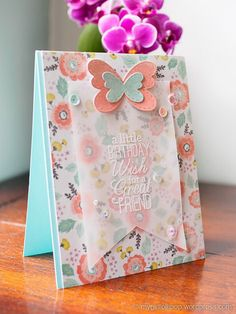 When I started to design this card, I had planned to follow a challenge sketch. I'd chosen the paper, die cut the butterflies, and cut a card base to size. However, once I'd attached th…