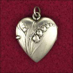 French Art Nouveau Lily of the Valley Silver Heart  Locket