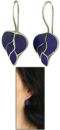 """Sterling & Lapis Cloud Earrings~  Lapis lazuli, the """"sapphire"""" of the ancients, was favored for its deep, blue color often flecked with """"gold"""" (iron pyrite). The Egyptians regarded lapis as a sacred stone of celestial origin and a symbol for truth.  Lapis lazuli stone and sterling silver  0.75"""" L (1.9 cm)  Handmade in and fairly traded from Afghanistan"""