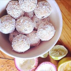 Lemon, lime and passionfruit blissballs by @emswholesomekitchen