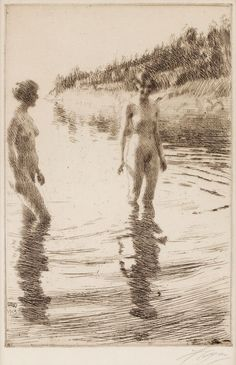 anders zorn - shallow, drypoint and etching. Figure Painting, Figure Drawing, Painting & Drawing, Life Drawing, Figurative Art, Printmaking, Art Drawings, Art Photography, Sketches
