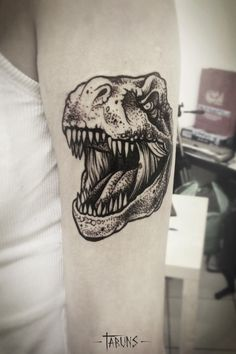 T-rex tat by Alex Tabuns Alex Tabuns, Head Tattoos, Time Tattoos, Body Art Tattoos, Tatoos, Octopus Tattoo Design, Tattoo Designs, Tattoos For Women Small, Small Tattoos
