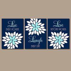 Live Laugh Love Navy Aqua Wall Art CANVAS or Prints by TRMdesign