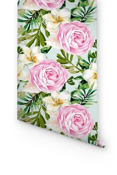 Transform any room in your home into Hawaiian paradise with this self-adhesive vinyl PLUMERIA & ROSE pattern removable wallpaper!