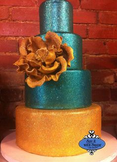 Glittered wedding cake