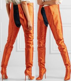 Vetements x Manolo Blahnik Satin Boots in Bright Orange