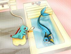 Totodile being adorable and nice to vaporeon ... totodile, vaporeon, pokemon