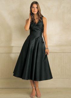 Black Tea Length Halter Dress