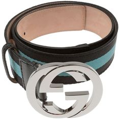 Pre-owned Gucci Interlocking Gg Logo Blue Stripped Canvas And Leather... (5.589.430 IDR) ❤ liked on Polyvore featuring accessories, belts, gucci belt, blue canvas belt, gucci, blue leather belt en leather belt