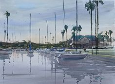 Sunset at Alamitos Bay, California I by Keiko Tanabe Watercolor ~ 17 x 23 inches (43 x 58 cm)