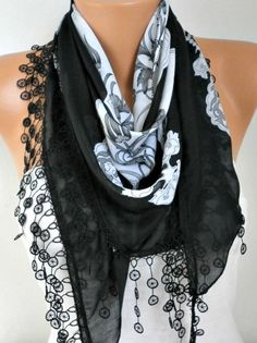 Floral Scarf  Cotton Scarf Oversize Scarf Necklace by fatwoman
