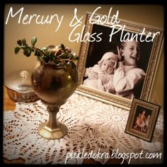 DIY Mercury & Gold Glass Planter.  An easy and elegant present to make quickly and inexpensively in bulk.  The best combination!  Perfect for all the little gifts that are coming up for Christmas and the Holidays!