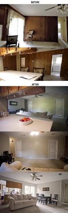 Filling and Painting wood paneling - LittleLessUgly.com #DIY