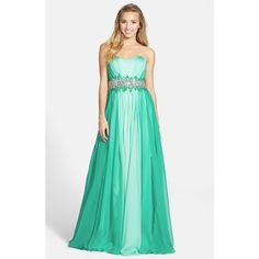 Women's Sean Collection Embellished Waist Ombre Chiffon Strapless Gown (6,625 MXN) ❤ liked on Polyvore featuring dresses, gowns, green ball gown, strapless dress, green dress, green evening dresses and strapless chiffon gown