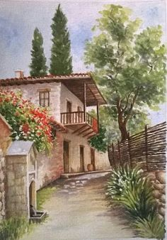 Watercolor Landscape Paintings, Watercolor Paintings, Cottage Art, Beautiful Paintings, Art Oil, Art Pictures, Art Drawings, Beautiful Places, Scenery