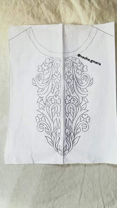 Embroidery Neck Designs, Embroidery Motifs, Ribbon Embroidery, Pattern Paper, Fabric Patterns, Churidhar Designs, Crochet Waffle Stitch, Maggam Work Designs, Neck Pattern