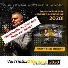 Die Vertriebsoffensive 2020 von Dirk Kreuter, dem Verkaustrainer Nr. 1 in Europa. #vertrieb #verkauf #verkausschulung #weiterbildung Ticket, Stress, Motivation, Broadway, Europe, Further Education, Dortmund, Anxiety